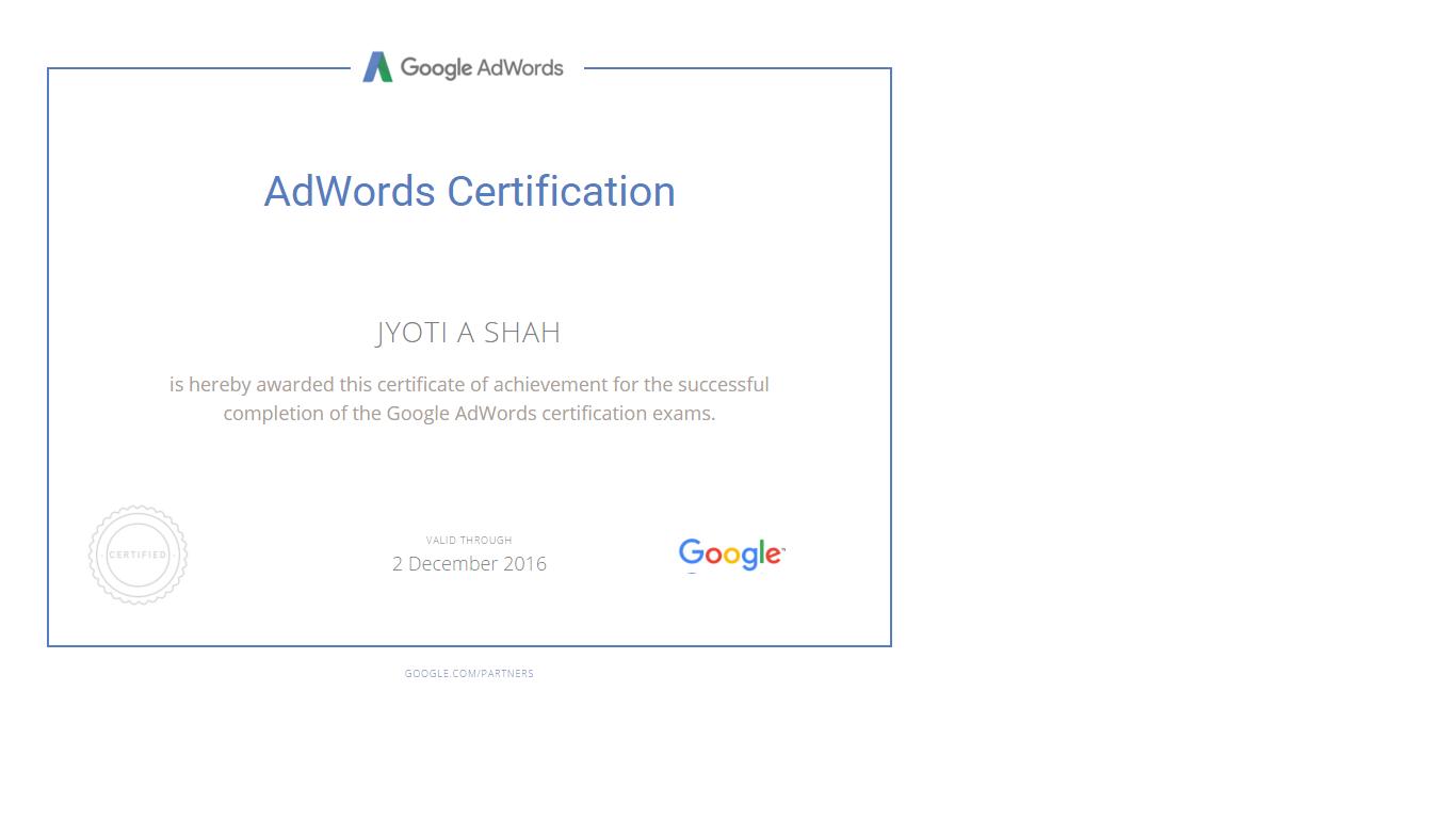 jyoti certificate